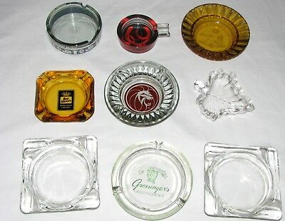 Vintage Lot of 9 Glass Collectible Ashtrays..All Nice
