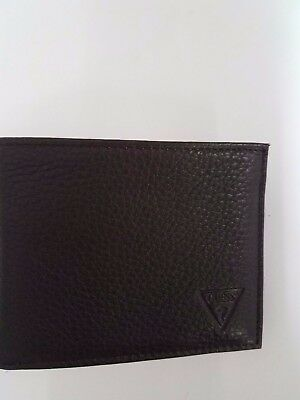 $87 GUESS MEN/'S BLACK LEATHER DOUBLE BILLFOLD 6CC PASSCASE ID CREDIT CARD WALLET