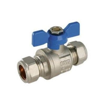 15Mm Butterfly Lever Handle Ball Valve Blue Handle Compression Full Bore