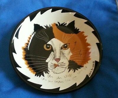 """Cats by Nina"" 8""Decorative BOWL Calico Cat Nina Lyman Art Decorative Ceramic"