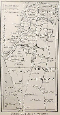 vintage 1934 mini map of the British Mandate of Palestine