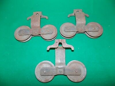 Set of 3 Barn Door Double Roller Hangers