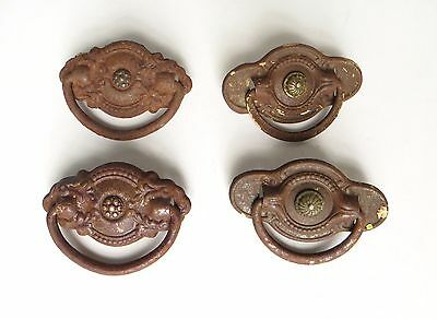 Lot of 4 Rusty Antique Drawer Pulls Stamped Metal with Drop Handle