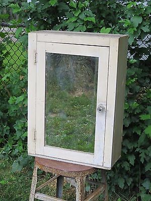 Vintage Wooden Wall Medicine Cabinet / Cupboard With Beveled Mirror