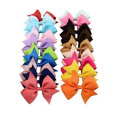20pcs/lot Mutilcolor 4 inch Grosgrain Ribbon Hair Bows Girl Boutique Bow Baby...