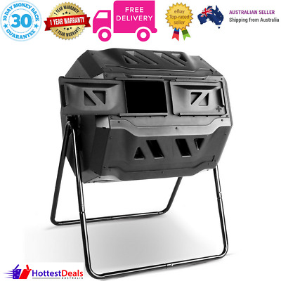 160L Compost Tumbler Dual Twin Bin Food Waste Aerated Composter Garden bed NEW