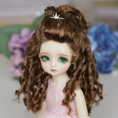 "New BJD SD 1/6  Doll Wig Wavy Hair Long Dollfie 6-7 ""Bjd Doll Wig JW099 Brown"