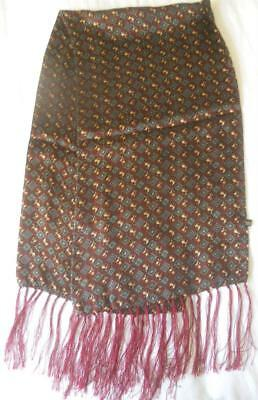 Vintage Mens Scarf 100%  Silk Maroon With Tiny Horses Print Fringed