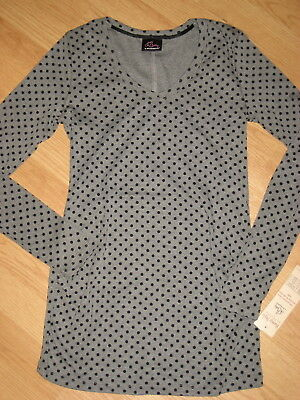 NEW Motherhood Oh Baby maternity womens medium top blouse shirt polka dot gray