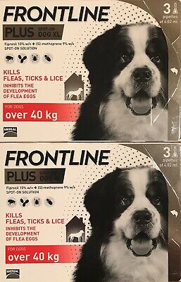 Frontline Plus for Extra Large XL Dogs 89-132lbs (40-60kg) 6 Months, New Fresh!