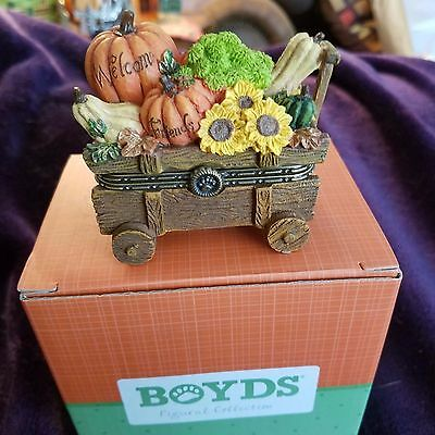 Boyds Bears Treasure Box Ashton's Harvest Wagon 1st Edition New!
