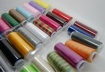 24 Colors 200M Spools Fine Quality Cotton Sewing Machine Thread Reel Cord String