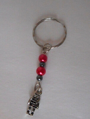handcrafted zipper pull backpack charm red/gray glass beads robot charm