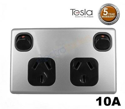 Power Point Double 240 V 10 Amp GPO Tesla Standard Series Black Silver Cover