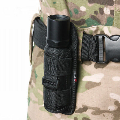 Tactical Flashlight Pouch Holster Belt Carry Case Holder with 360 Degrees Rotat