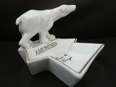 Pyrogene Bowl Figurine Bear Advertising Bar Match Striker Holder Art Deco Style