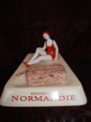Soapdish Bowl Figurine Bathing Beauty Sexy Normandy Trouville Art Deco Style Art