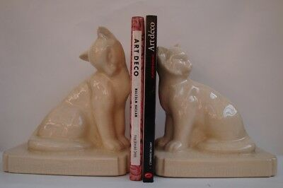 Bookends Figurine Cat Wildlife Art Deco Style Art Nouveau Style Porcelain Crackl