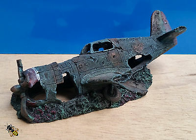 Aquarium Ornament War Plane Wreck Crash Cave Hide Fish Tank New