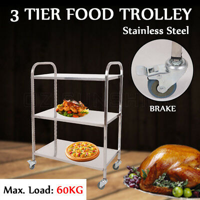 3 Tier Food Trolley Stainless Steel Cart Kitchen Dining Serving Lockable Wheels