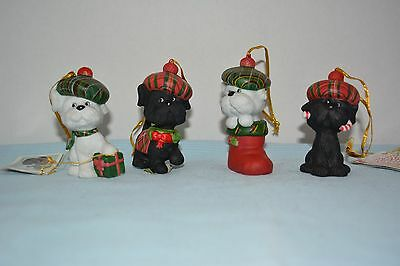 """Cheerful Foursome """"mac Mutts"""" Scottish Terrier Christmas Ornaments"""