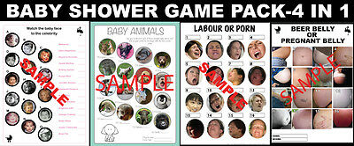 SUPER baby shower pack (x4 games) INCLUDES 'Labour or Porn' & 'Preg/Beer belly'