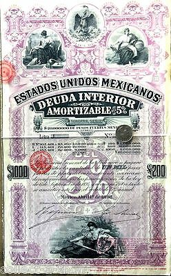 Superb Xxx-Rare Pink Lady $1000/£200!! 1 Of Hottest Mexico Speculative Bonds!