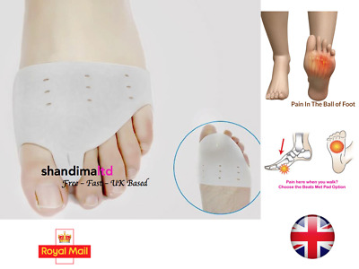 2 x Gel Metatarsal Sore Ball Foot Sleeves Cushions Pads Forefoot Support Bunion