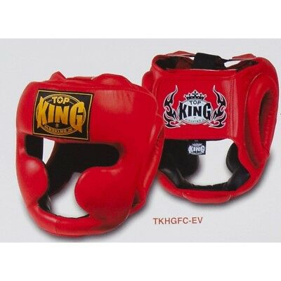 NEW Top King Boxing Headgear - RED TopKing Boxing MMA Full Face Guard Sparring
