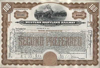 RARE WESTERN MARYLAND RR PREF 100s STOCK Engraved 1917 $10,000 Face Val EBAY $75