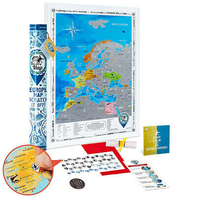 "Scratch off Poster of Europe. Premium Quality. Size 19X27"". Deluxe Traveler Gift"