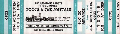 TOOTS & THE MAYTALS - Unused Concert Ticket First Avenue Minneapolis 1989