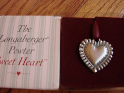 SWEETHEART PEWTER CHARM Pendant HEART Shaped Longaberger Tie-on 1993