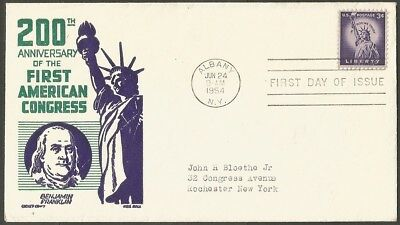 Us Fdc 1954 200Th Anniversary Of The First American Congress Liberty 3C Stamp