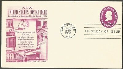 Us Fdc 1958 New United States Postal Rate Embossed 4C First Day Of Issue Cover