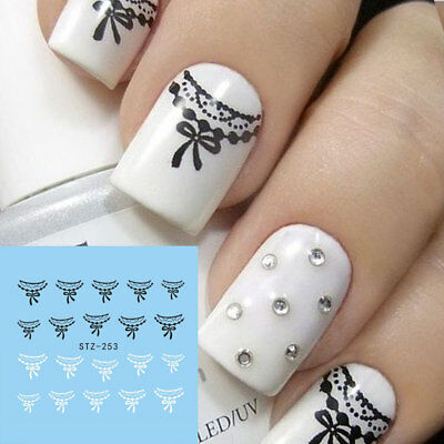 ❤️nouveaux Stickers Dentelle Bijoux Ongles Water Decals Nail Art