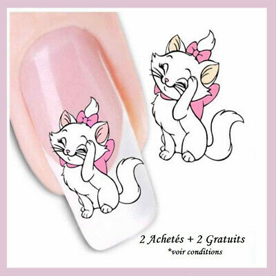 ❤️nouveau 24 Stickers 3D Disney Marie Bijoux Ongles Water Decal Nail Art