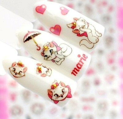 ❤️nail Art 24 Stickers Disney Marie Bijoux Ongles Water Decal Manucure