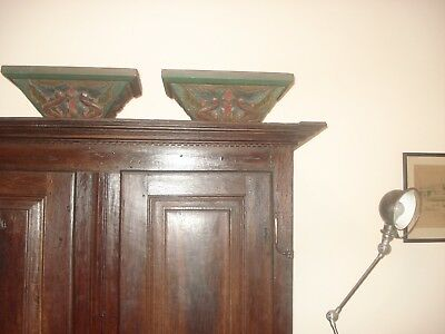 (2) Antique Pair 1890's Wood Corbels Brackets Victorian Green, San Francisco
