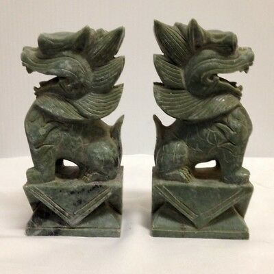 6 inch Tall Green Jade Temple Lions Sculpture / Statue - Gorgeous