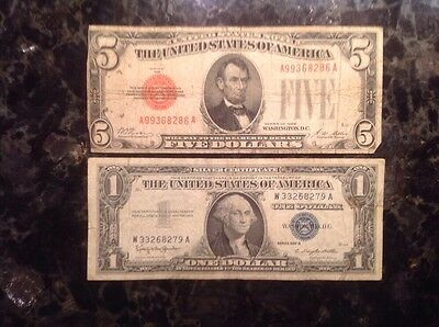 1928  $5 USN - Red - High SN  - Possible Er + 1957B $1 Silver Certificate - Blue
