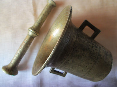 Vintage Antique 19C Solid Brass Mortar&Pestle Set Apothecary Pharmacists Medical