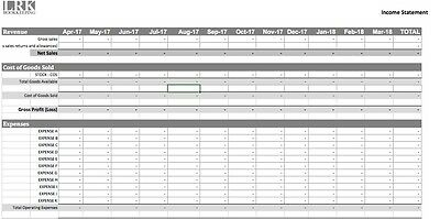 Bookkeeping Accounts Spreadsheet System - Profit & Loss Income Expenditure