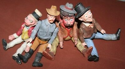 Lot of 4 antique german jointed composition brownie figures christmas ornaments