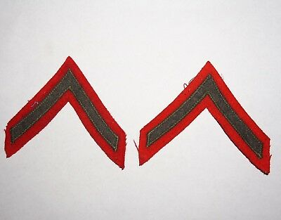 Private PFC Chevrons WWII US Marine Corps Pair Red Wool Rank Patches P4808