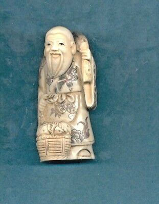 Man With Basket And Bedroll Stunning Hand Carved 3.5 In Okimono Figurine 929
