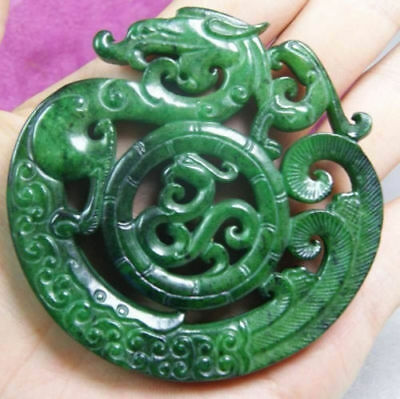 CHINESE OLD HANDWORK GREEN JADE CARVED DRAGON PENDANT l4