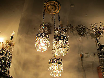 Antique Vnt French Crystal Chandelier Lamp 1940s RARE