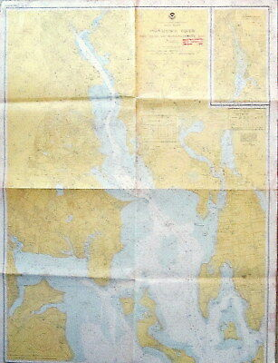 VINTAGE NAUTICAL CHART MAP RHODE ISLAND Providence River Head Narragansett Bay