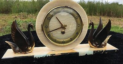 Art Deco Mantle Clock With Swans